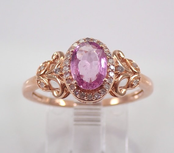 Pink Sapphire and Diamond Halo Engagement Ring Rose Gold Intricate Band Size 7 FREE Sizing