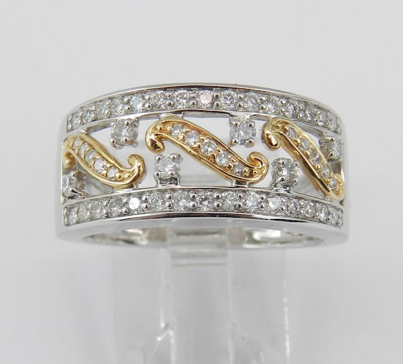 Diamond Anniversary Band Wedding Ring White Yellow Gold Size 7 Stackable Ring