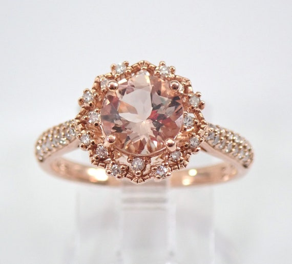 Round Morganite and Diamond Halo Engagement Ring 14K Rose Gold Size 7 Unique Design FREE Sizing