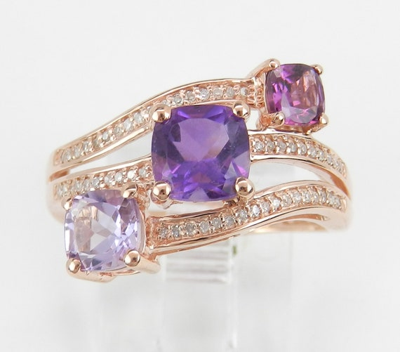 Cushion Cut Amethyst and Diamond Three Stone Multi Row Ring Band Rose Gold Size 7 February