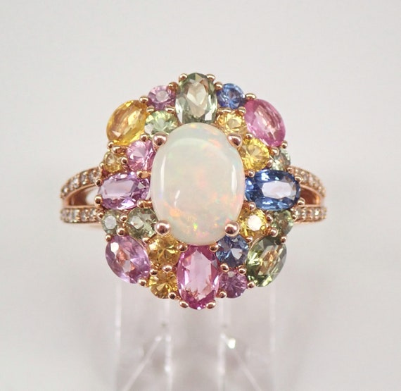 14K Rose Gold Opal Diamond Multi Color Sapphire Halo Engagement Ring Size 7.25 FREE Sizing