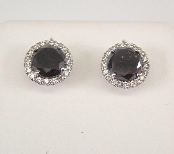 White Gold 2.50 ct Black Diamond Stud Earrings Halo Studs PERFECT GIFT