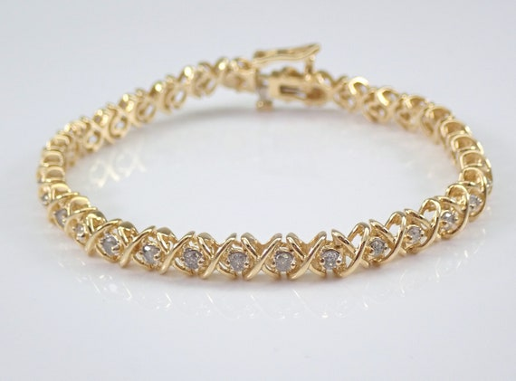 Vintage Estate 14K Yellow Gold Diamond Tennis Bracelet Hugs and Kisses