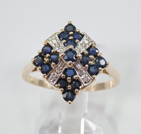 Yellow Gold Diamond and Sapphire Cocktail Cluster Ring Size 8 Vintage Jewelry FREE Sizing