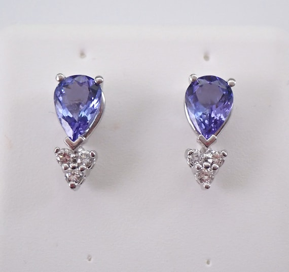 Tanzanite and Diamond Stud Earrings Wedding Studs 14K White Gold Pear Shape December Gemstone