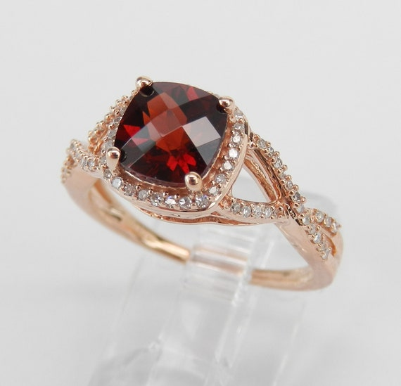 Cushion Cut Garnet and Diamond Halo Engagement Ring Rose Gold Size 7 January Gem