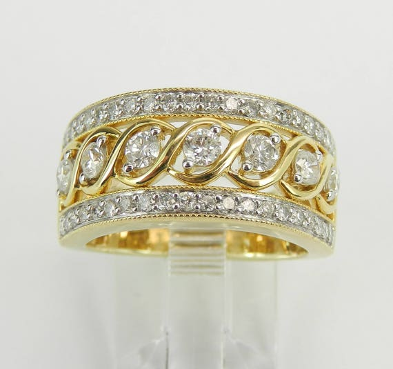 1.00 ct Diamond Anniversary Band Wedding Ring Wide Yellow Gold Size 7 Stackable Ring