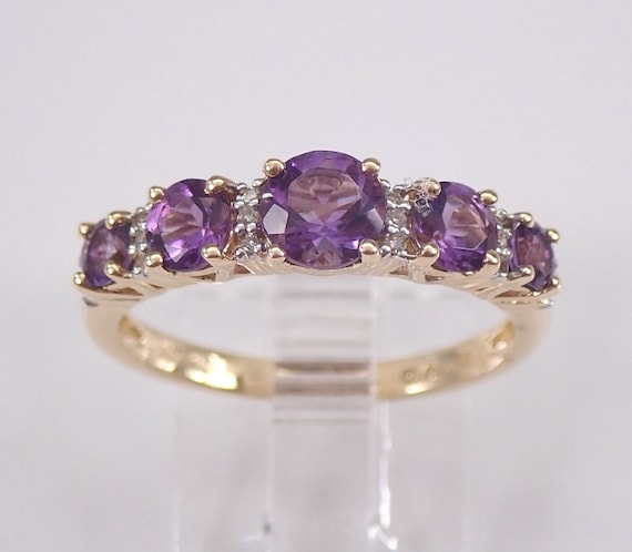14K Yellow Gold Diamond and Amethyst Wedding Ring Anniversary Band Size 6.75 February Birthstone FREE Sizing