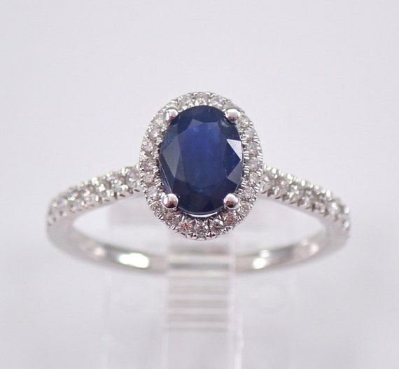 14K White Gold Diamond and Sapphire Halo Engagement Ring Size 6.75 September Gemstone FREE Sizing