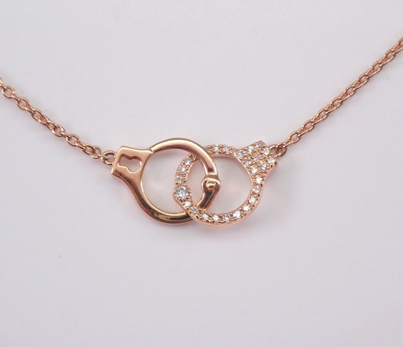 "Diamond Handcuffs 18K Rose Gold Necklace Pendant Adjustable Chain 18"" Police Charm"