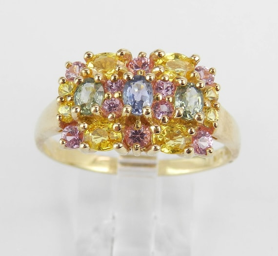 14K Yellow Gold Ring, Multi Color Sapphire Ring, Gold Cluster Ring, Pink Sapphire Ring, Green Sapphire Ring, Yellow Sapphire Ring