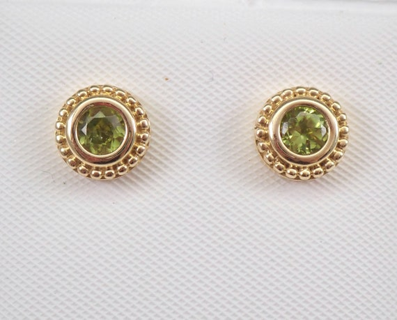 Peridot Stud Earrings Halo Studs Yellow Gold August Birthstone Graduation Gift
