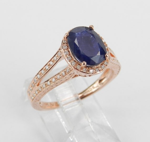 Diamond and Sapphire Halo Engagement Ring Size 7 Rose Gold September Birthstone FREE Sizing