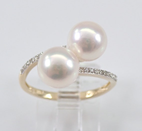 14K Yellow Gold Pearl and Diamond Bypass Engagement Ring Size 7 June Birthday FREE Sizing