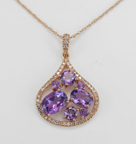 "Diamond and Amethyst Necklace, Amethyst Cluster Pendant, Rose Gold Necklace, 18"" Rose Gold Chain"