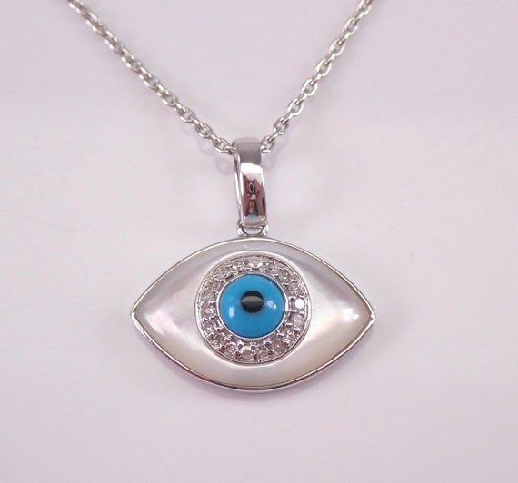 "Diamond Turquoise MOP Evil Eye Pendant Necklace 14K White Gold 18"" Chain Good Luck Charm"