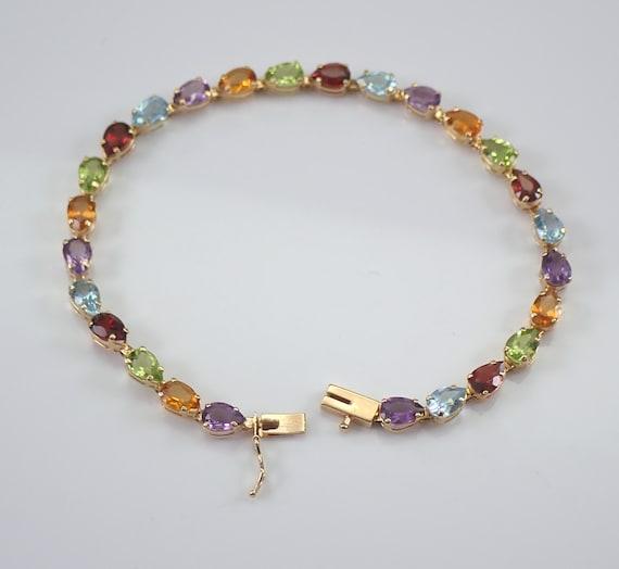 14K Yellow Gold Multi Color Gemstone Tennis Bracelet Pear shape Amethyst Blue Topaz Garnet Citrine Peridot