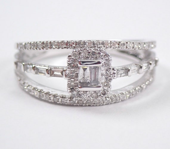 14K White Gold Diamond Engagement Ring Multi Row Anniversary Band Size 7
