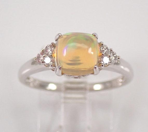 14K White Gold 1.10 ct Opal and Diamond Engagement Ring Size 7 October Gemstone FREE Sizing