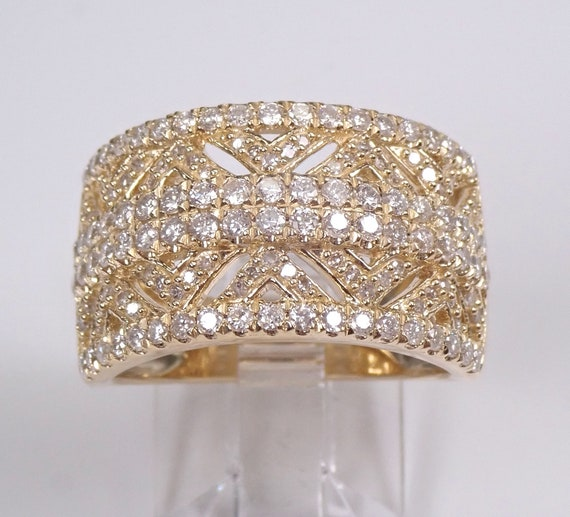 Ornate Diamond Wedding Band | Cigar Band | Wide Comfort Fit | Diamond Band | Art Deco Wedding | Ornate Wedding