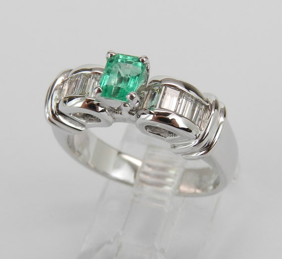 18K White Gold Emerald and Diamond Engagement Ring Size 6.75, Emerald Cut Emerald Ring, May Birthstone Ring