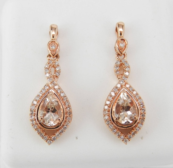 Morganite and Diamond Dangle Drop Halo Earrings Rose Gold Unique Gemstone