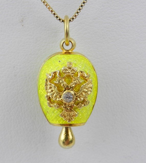 "Sterling Silver 18K Gold Plated Neon Yellow Enamel Swarovski Crystal Pendant with Chain 18"" Faberge Style Egg"