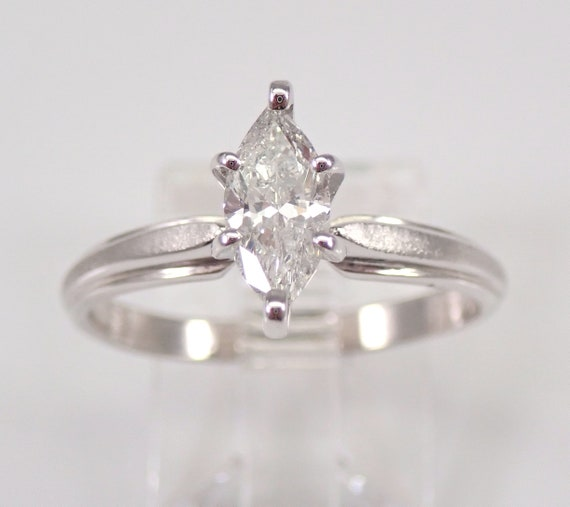 Marquise SOLITAIRE Diamond Engagement Ring 14K White Gold Size 7.5 FREE SIZING