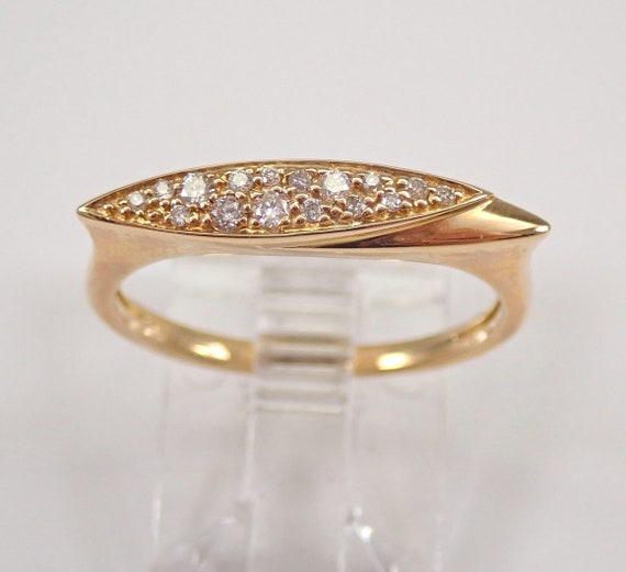 Yellow Gold Diamond Ring East West Bar Design Stackable Minimalistic Look FREE Sizing