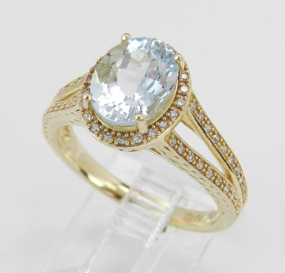 Aquamarine Ring, Diamond and Aquamarine Halo Engagement Ring, Aqua Ring, Yellow Gold Engagement Ring, Size 7 FREE Sizing