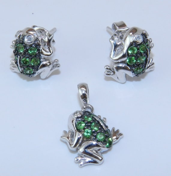 REDUCED Diamond and Green Sapphire FROG Earrings Pendant Set 14K White Gold