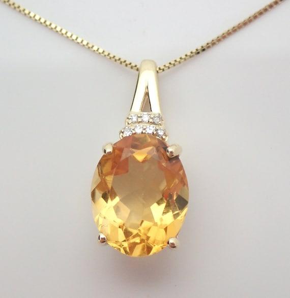 "Yellow Gold Citrine and Diamond Drop Pendant Necklace 18"" Chain November Gemstone"
