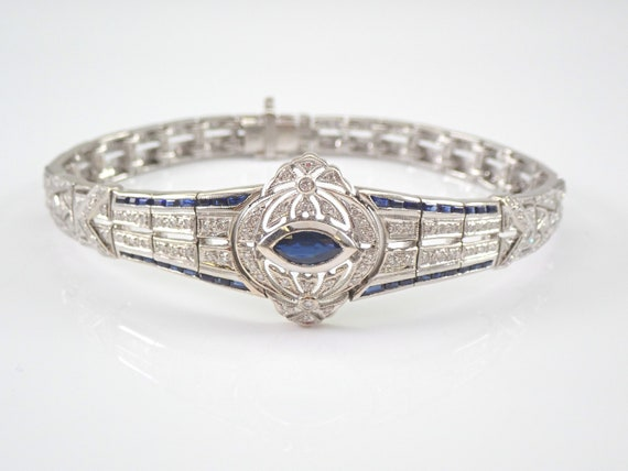 Antique Art Deco Diamond and Sapphire Bracelet 18K White Gold Circa 1920's