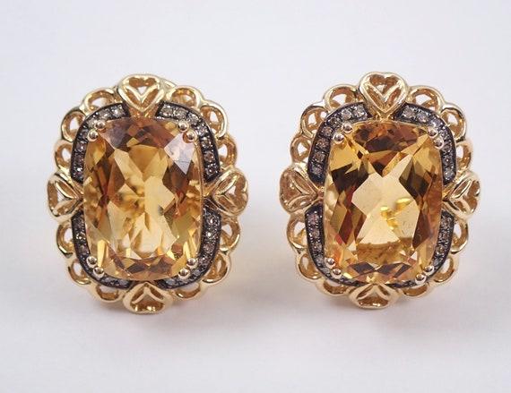 Citrine and Diamond Earrings 14K Yellow Gold Cushion Cut Omega Clips November Birthstone