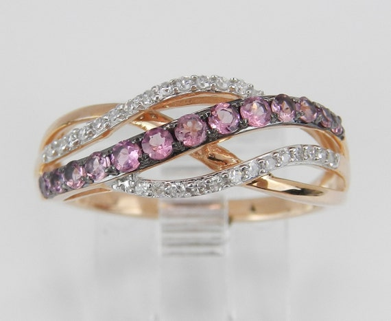 SALE Diamond and Pink Topaz Crossover Multi Row Ring Anniversary Band Rose Pink Gold Size 7.25