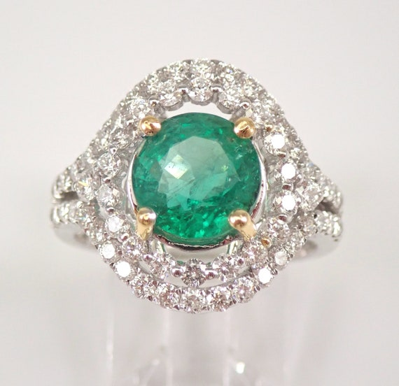 18K White Gold 3.88 ct Diamond and Emerald Halo Engagement Ring May Gem Size 7 FREE Sizing