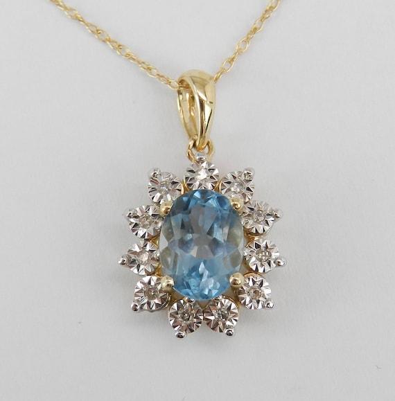 "Diamond and Aquamarine Halo Pendant Necklace 14K Yellow Gold 18"" Chain Aqua March Birthstone"
