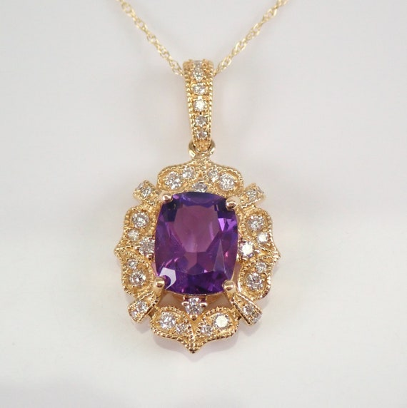 "14K Yellow Gold Amethyst and Diamond Halo Pendant Necklace 18"" Chain February Gemstone"