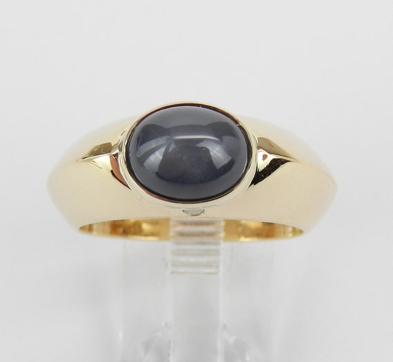 Estate Sapphire Ring, Star Sapphire Ring, 18K Yellow Gold Sapphire Ring, Charcoal Gray Star Sapphire and Diamond Ring, Size 9