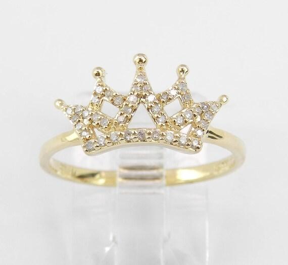 Yellow Gold Diamond Ring, Diamond Crown Ring, Diamond Crown, Queen Crown, King Crown, Size 6.5