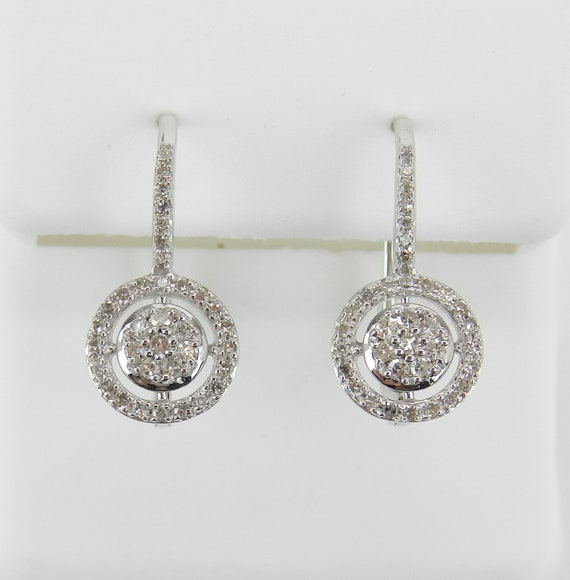 White Gold Diamond Cluster Halo Drop Earrings Leverback Wedding Gift