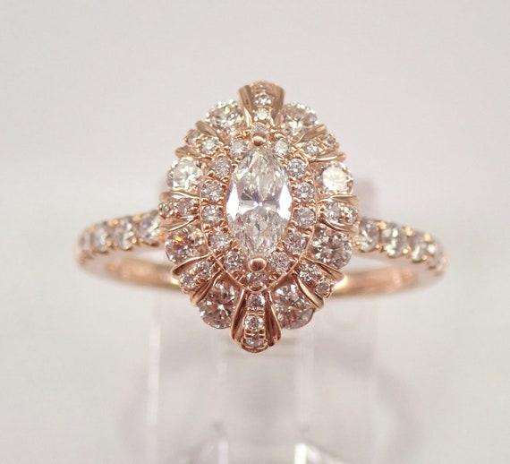 Unique Diamond Halo Engagement Ring 14K Rose Gold Size 7 Modern Design