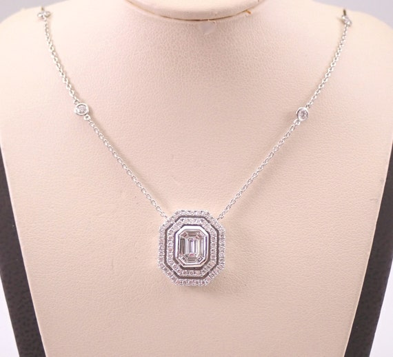 "18K White Gold Emerald-Cut Diamond Solitaire Pendant Cluster Necklace 18"" Chain"