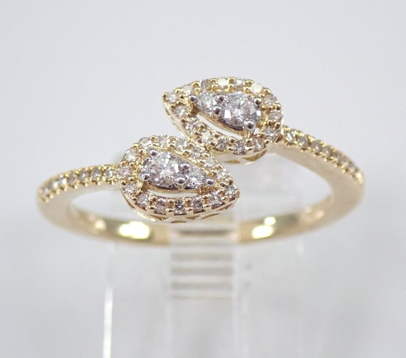 Yellow Gold Diamond Bypass Ring Cocktail Cluster Size 7 Midi Ring FREE Sizing