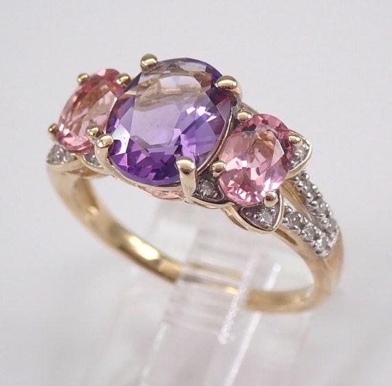 Amethyst Pink Tourmaline and Diamond Three Stone Engagement Ring Yellow Gold Size 6.5 February October Gemstone
