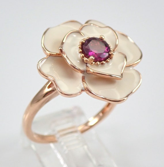 Rose Gold Rhodolite Garnet and White Enamel Flower Ring Size 7.25 Unique Gift January Birthstone FREE Sizing