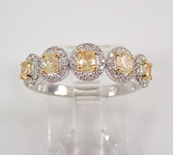 18K Gold Yellow Canary Oval Diamond Halo Wedding Ring Anniversary Band Size 6.75 FREE Sizing