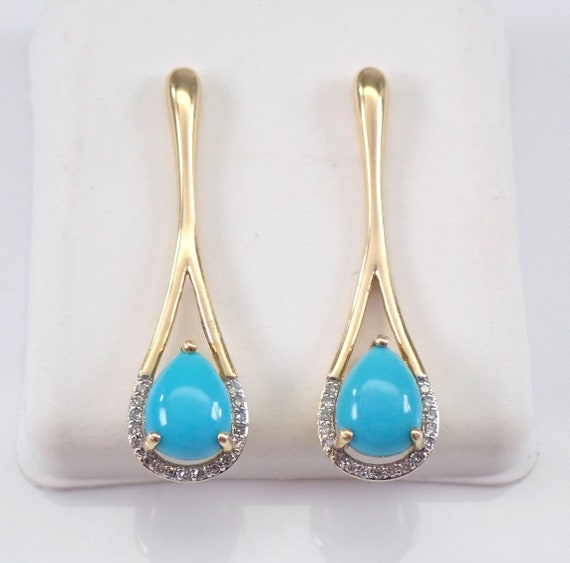 14K Yellow Gold Diamond and Turquoise Earrings Unique Long Drop Rare Color