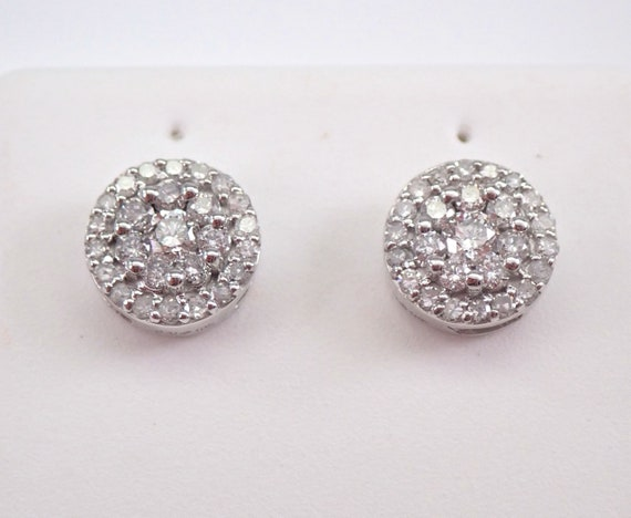 White Gold Diamond Studs Cluster Halo Stud Earrings 1/2 ct FREE SHIPPING