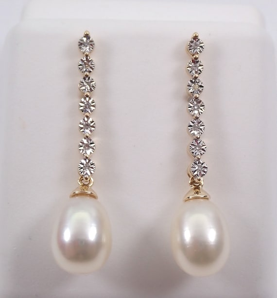 Pearl and Diamond Dangle Drop Earrings 14K Yellow Gold June Birthstone Wedding